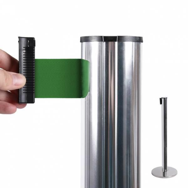 System odgradzający/chromowany słupek/zielony 2,7 m pas