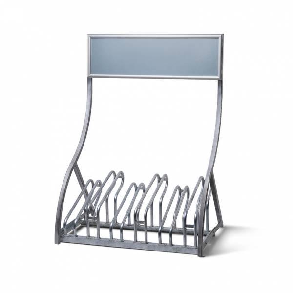 Metalowy stojak na 6 rowerów z ramą plakatową