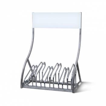 Metalowy stojak na 6 rowerów z miejscem na logo