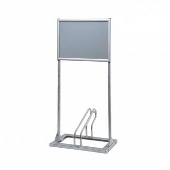Metalowy stojak na 1 rower z powierzchnią reklamową A2