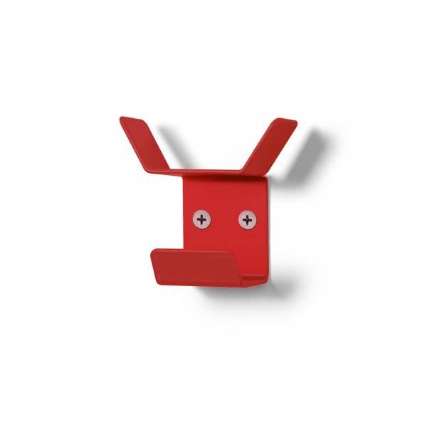 Wieszak naścienny Mini, potrójny, czerwony