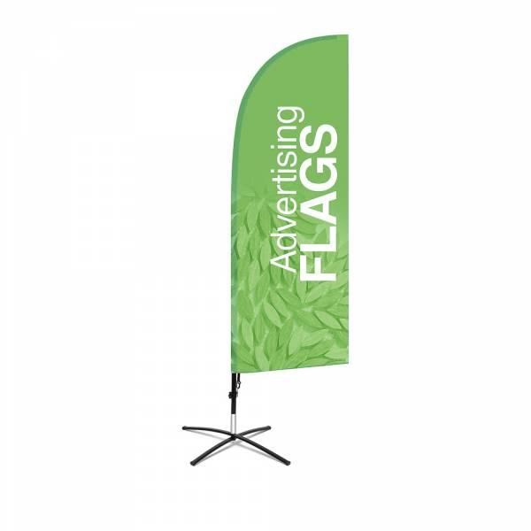 Flaga reklamowa w kształcie skrzydła – ZESTAW w rozmiarze M – razem z wydrukiem jednostronnym 650x1940 mm i podstawą krzyżową.