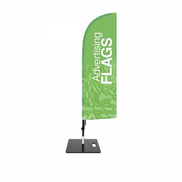 Flaga reklamowa w kształcie skrzydła – ZESTAW w rozmiarze S – razem z wydrukiem jednostronnym 470x1560 mm i kwadratową podstawą