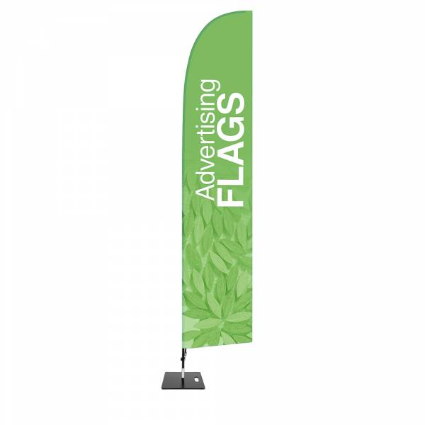 Flaga reklamowa w kształcie skrzydła – ZESTAW w rozmiarze XL – razem z wydrukiem jednostronnym 780x4030 mm i kwadratową podstawą