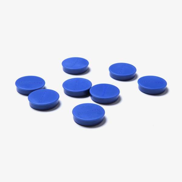 Zestaw 8 niebieskich magnesów o średnicy 35 mm