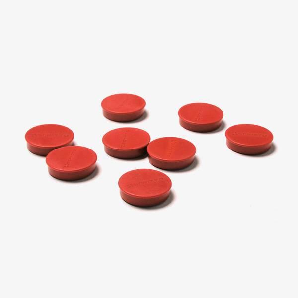 Zestaw 8 czerwonych magnesów o średnicy 35 mm