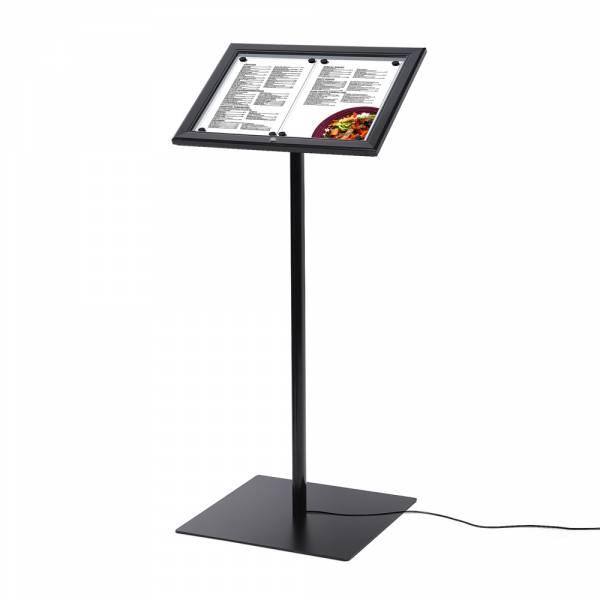Zamykany stojak na menu w kolorze czarnym / LED 2xA4,