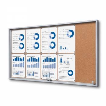 Wewnętrzna gablota 10xA4 SLIM, przesuwane drzwi, korkowe plecy