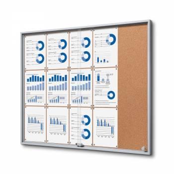 Wewnętrzna gablota 15xA4 SLIM, przesuwane drzwi, korkowe plecy