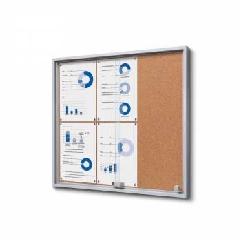 Wewnętrzna gablota 6xA4 SLIM, przesuwane drzwi, korkowe plecy