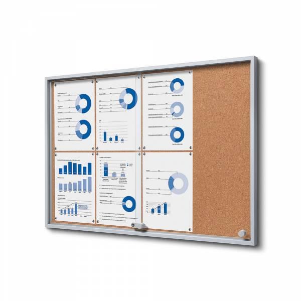 Wewnętrzna gablota 8xA4 SLIM, przesuwane drzwi, korkowe plecy