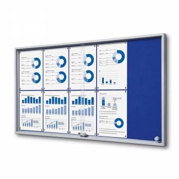 Wewnętrzna gablota 10xA4 SLIM, przesuwane drzwi, niebieskie filcowane plecy