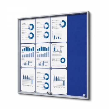 Wewnętrzna gablota 12xA4 SLIM, przesuwane drzwi, niebieskie filcowane plecy