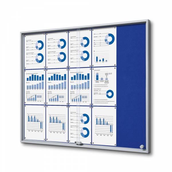 Wewnętrzna gablota 15xA4 SLIM, przesuwane drzwi, niebieskie filcowane plecy