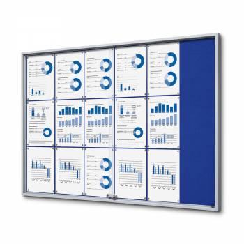 Wewnętrzna gablota 18xA4 SLIM, przesuwane drzwi, niebieskie filcowane plecy