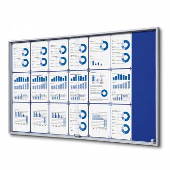 Wewnętrzna gablota 21xA4 SLIM, przesuwane drzwi, niebieskie filcowane plecy