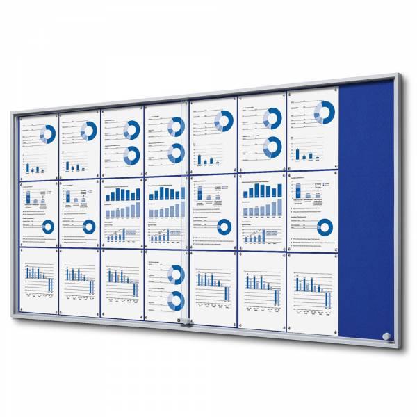 Wewnętrzna gablota 24xA4 SLIM, przesuwane drzwi, niebieskie filcowane plecy