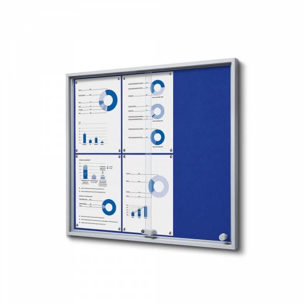 Wewnętrzna gablota 6xA4 SLIM, przesuwane drzwi, niebieskie filcowane plecy