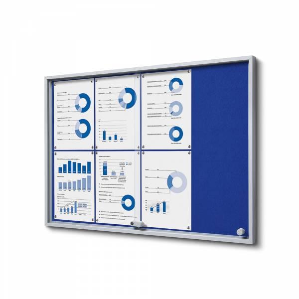 Wewnętrzna gablota 8xA4 SLIM, przesuwane drzwi, niebieskie filcowane plecy