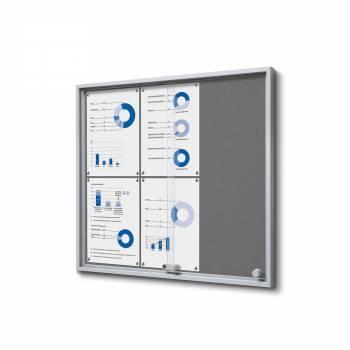Wewnętrzna gablota 6xA4 SLIM, przesuwane drzwi, szare filcowane plecy