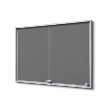 Wewnętrzna gablota 8xA4 SLIM, przesuwane drzwi, szare filcowane plecy