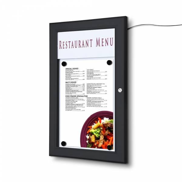 Gablota ogłoszeniowa na menu 1xA4 podświetlana LED czarna
