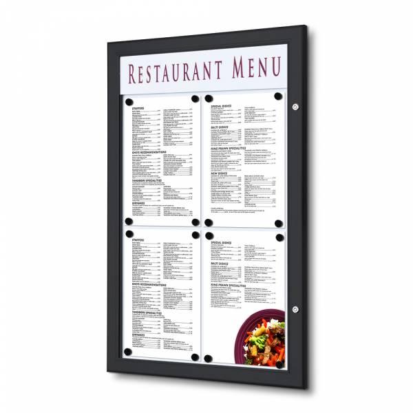 Gablota ogłoszeniowa na menu 4xA4 czarna