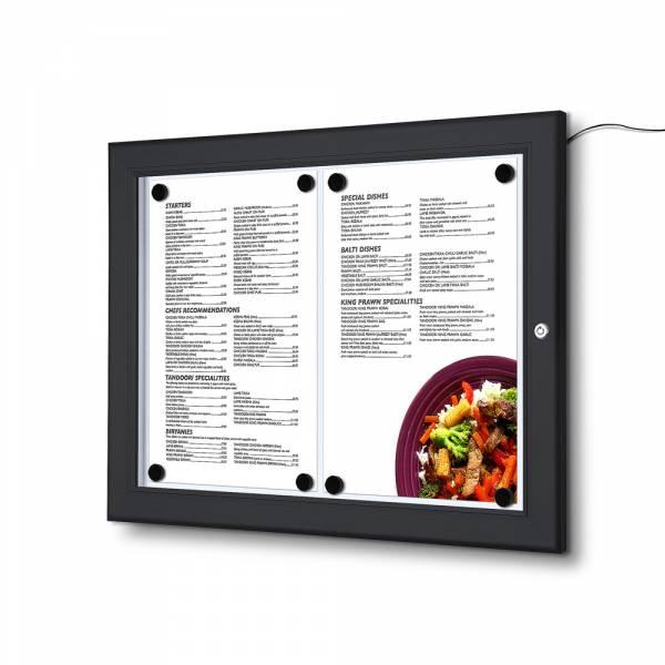 Czarna Menu gablota 2xA4, oświetlenie LED,