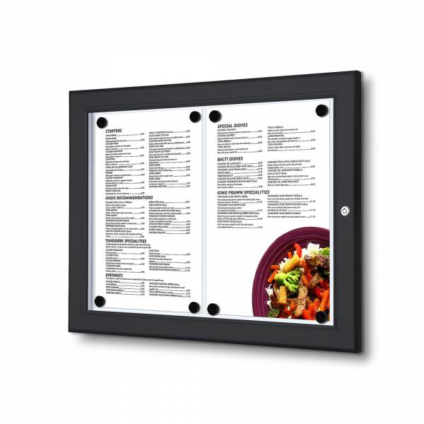 Czarna gablota na menu / LED
