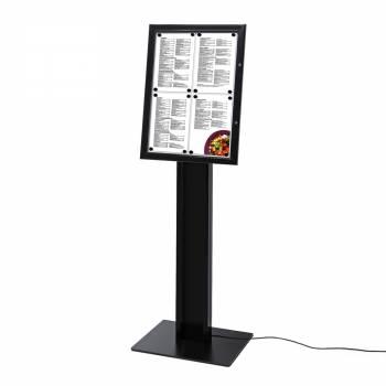 Czarny wolnostojący stojak na menu 4xA4, oświetlenie LED ,