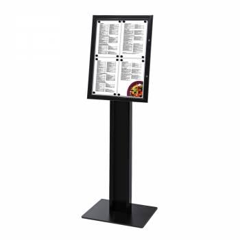 Czarny wolnostojący stojak na menu 4xA4,