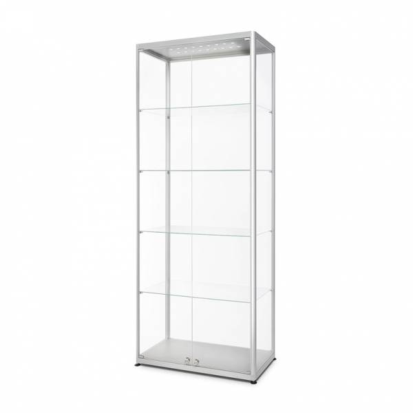 Witryna szklana z oświetleniem LED 800x2000x400mm z podwójnymi drzwiami