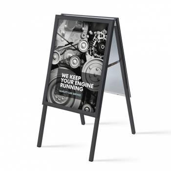 Potykacz reklamowy 50x70cm, profil 32mm, narożniki ostre, czarny