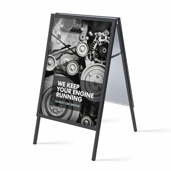 Potykacz reklamowy 70x100cm, profil 32mm, narożniki ostre, czarny