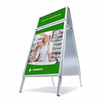 Potykacz reklamowy A1,profil 32mm, narożnik ostry z dodatkową ramą na logo