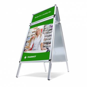 Potykacz reklamowy A1, profil 32mm, narożniki zaokrąglone z dodatkowym daszkiem na logo