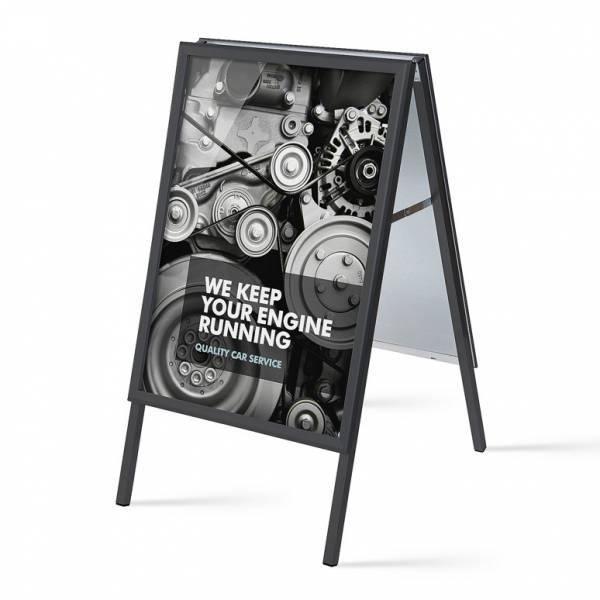 Potykacz reklamowy A1, profil 32mm, narożniki ostre, czarny